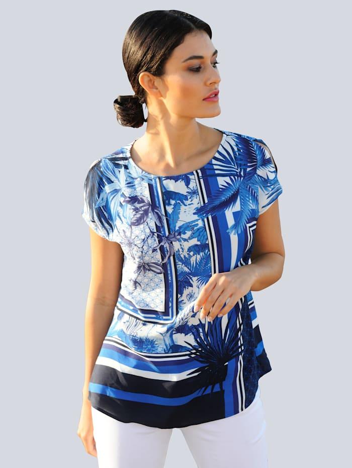 Alba Moda Shirt met exclusief ALBA MODA dessin, Marine/Blauw/Offwhite