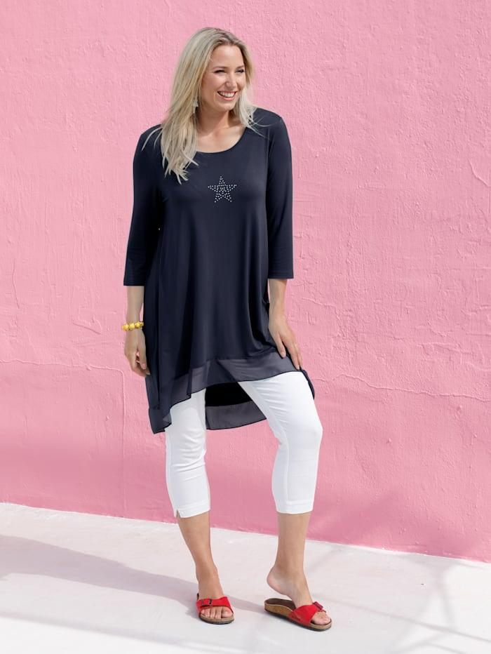MIAMODA Longshirt mit asymmetrischem Saum, Marineblau