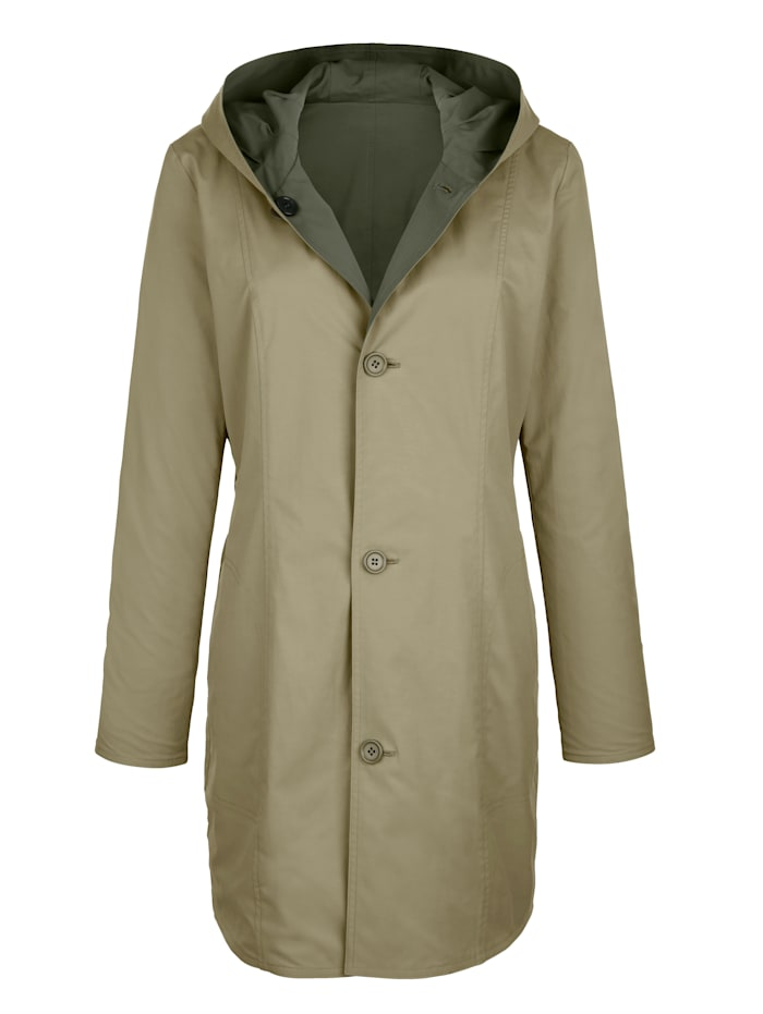 Paola Obojstranná bunda s kapucňou, Khaki/Svetlozelená