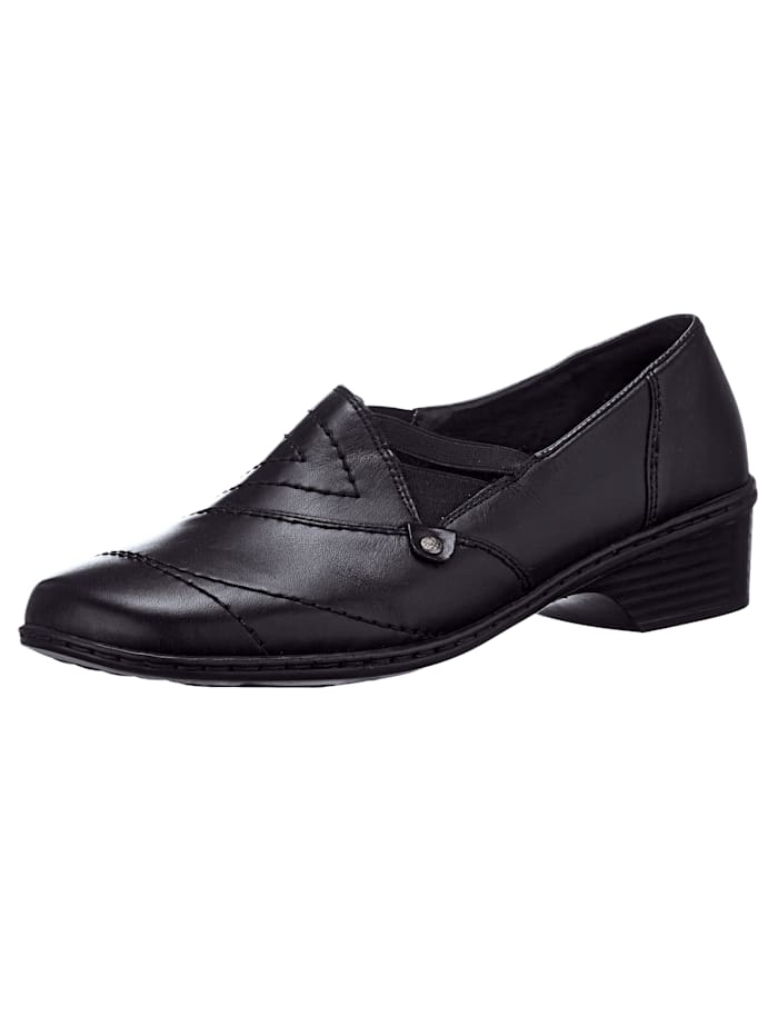 Rieker Slip-on shoes with exquisite design, Black