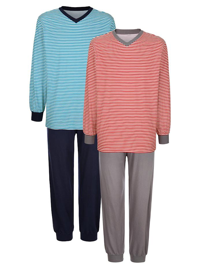 G Gregory Pyjamas par lot de 2, Rouge/Bleu