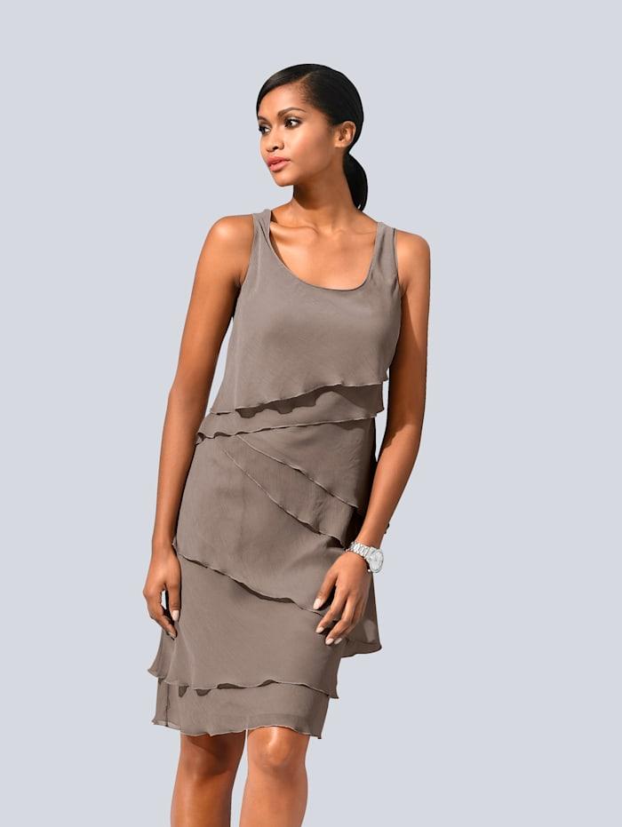 Alba Moda Kleid im modischen Lagenlook, Taupe