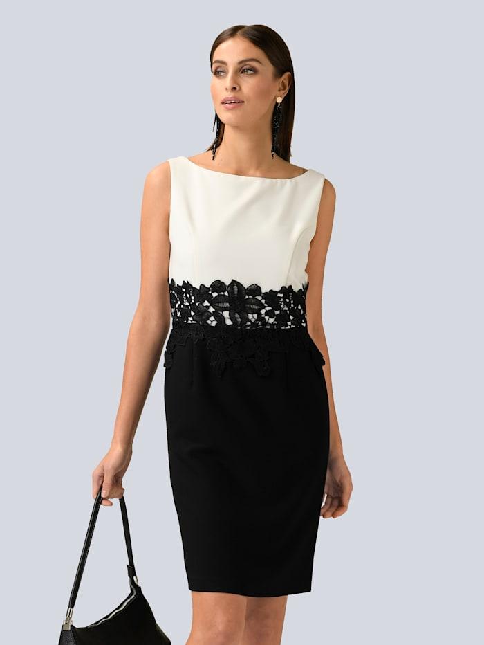 Alba Moda Kleid mit dekorativem Spitzenband in der Taille, Schwarz/Weiß