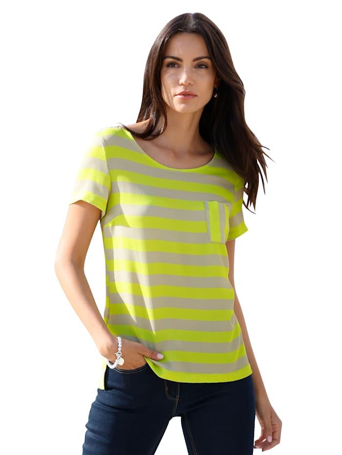 AMY VERMONT Shirt met strepen rondom, Beige/Neongeel