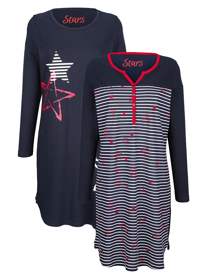 Nachthemden mit kontrastfarbenem Ausschnitt 2er Pack