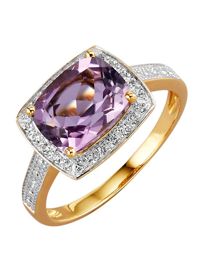 Diemer Farbstein Damenring mit Farbsteinen und Diamanten, Lila