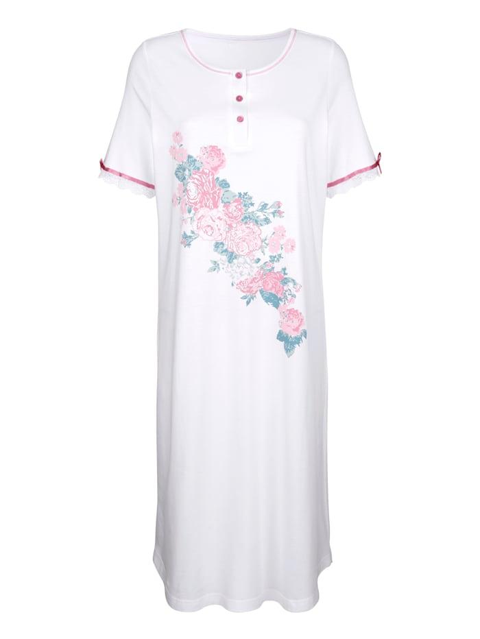 Harmony Nachthemd mit hübschen Satinschleifchen, Weiß/Altrosa/Jade