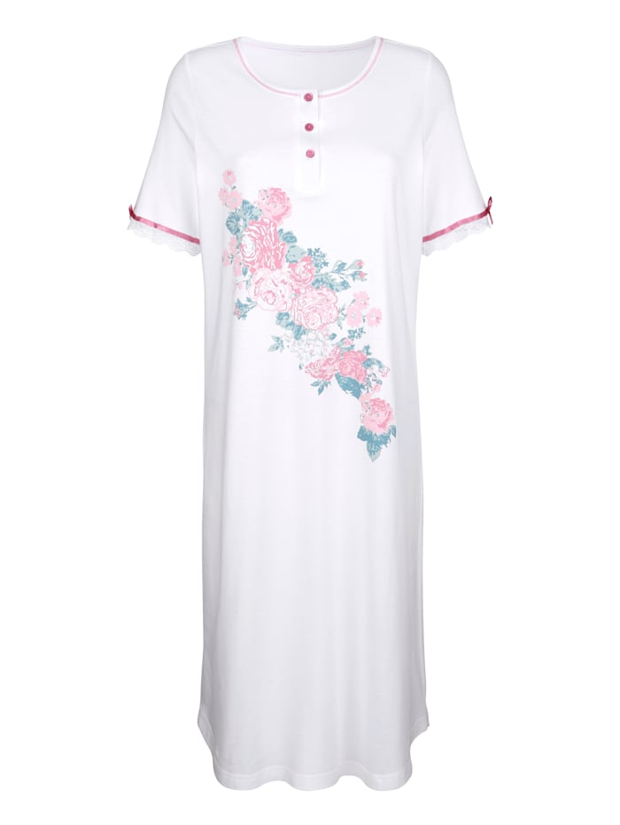 Harmony Nachthemd met schattig satijnen strikje, Wit/Oudroze/Jadegroen