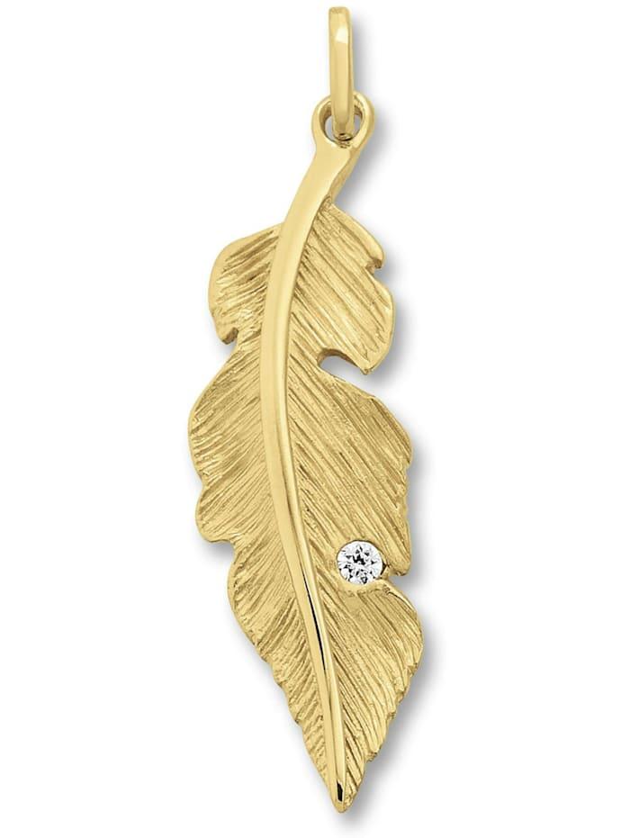 One Element Damen Schmuck Anhänger Feder aus 333 Gelbgold Zirkonia, gold
