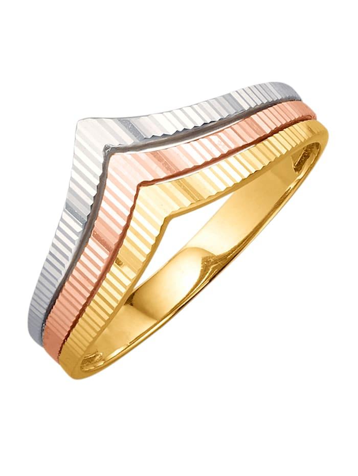 Ring med räfflad struktur, Guldfärgad/Roséguldfärgad