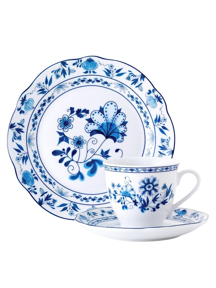 Van Well Kaffeservise -Løkblomstmønster- i 18 deler, blå/hvit