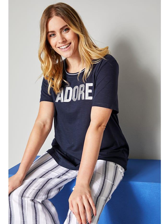 Sara Lindholm Shirt aus reiner Baumwolle, Blau