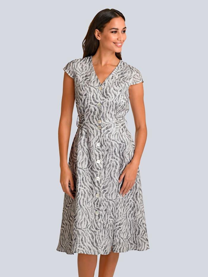 Alba Moda Kleid im modischen Animal-Dessin allover, Grau/Off-white