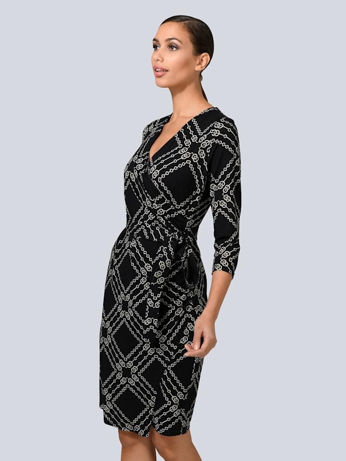 Alba Moda Kleid mit Fake-Wickelausschnitt, Schwarz/Creme-Weiß