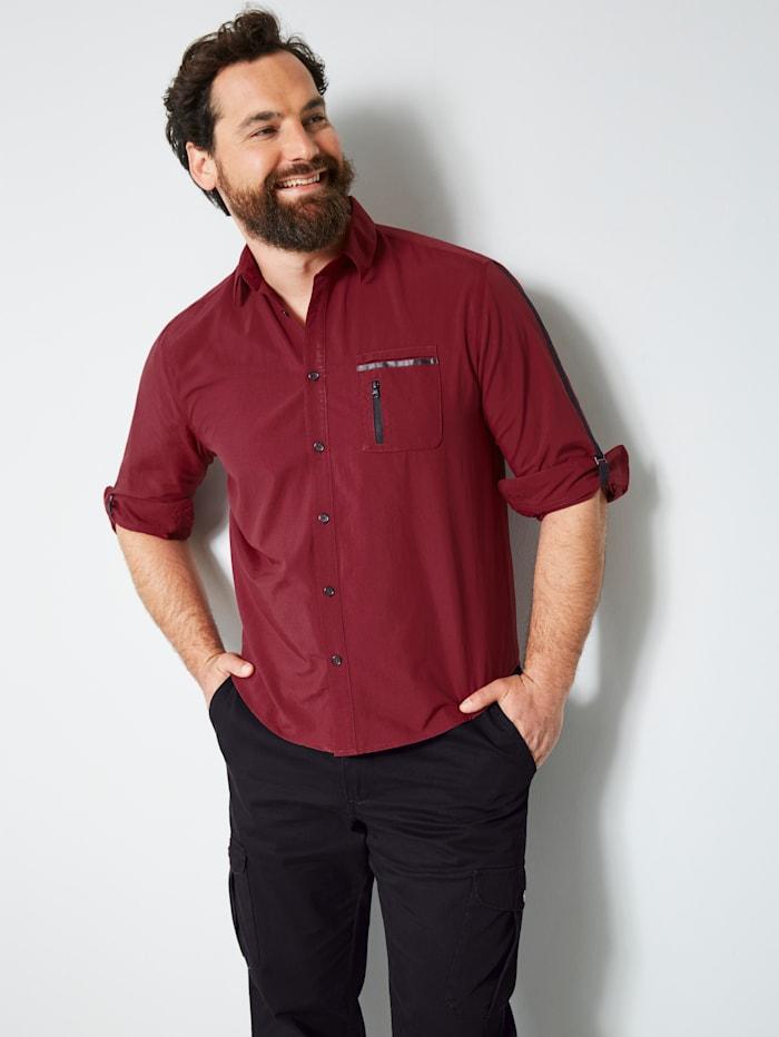 Men Plus Hemd mit Krempelfunktion, Bordeaux/Schwarz
