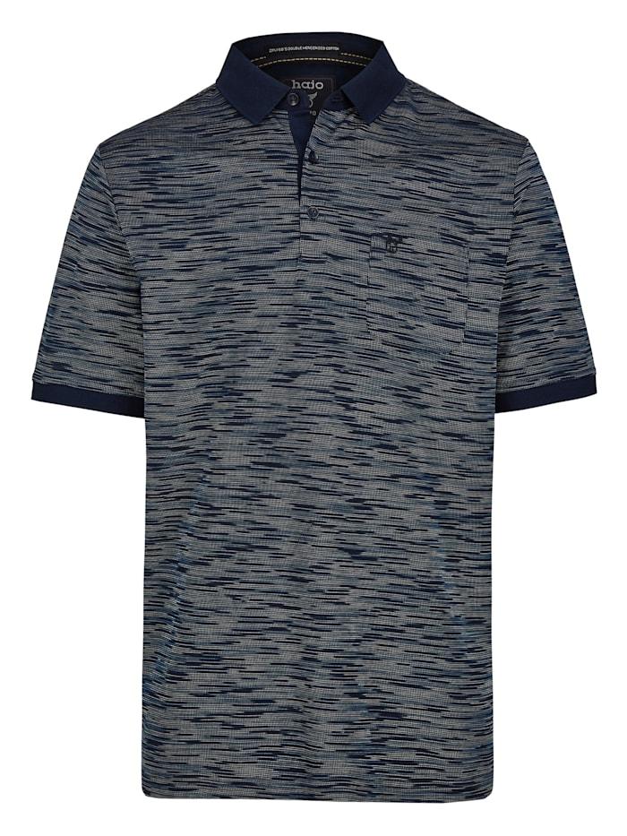 Hajo Poloshirt mit edler Oberflächenoptik, marine