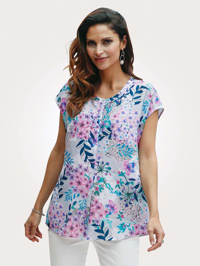 MONA Bluse med grafisk mønster, Lysegrå/Pink