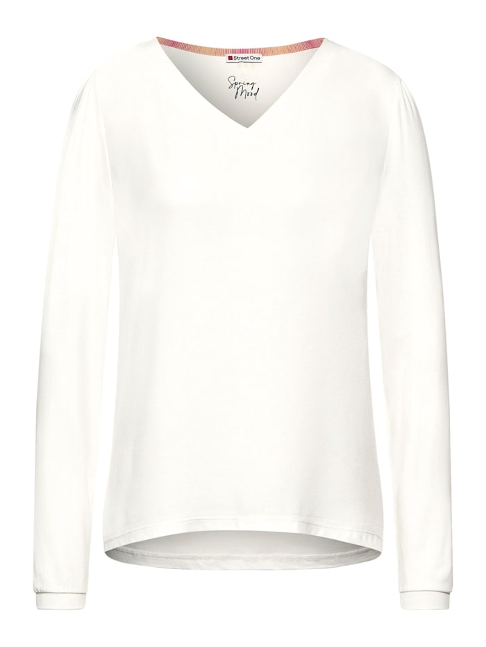 Street One Shirt mit Material-Mix, off white