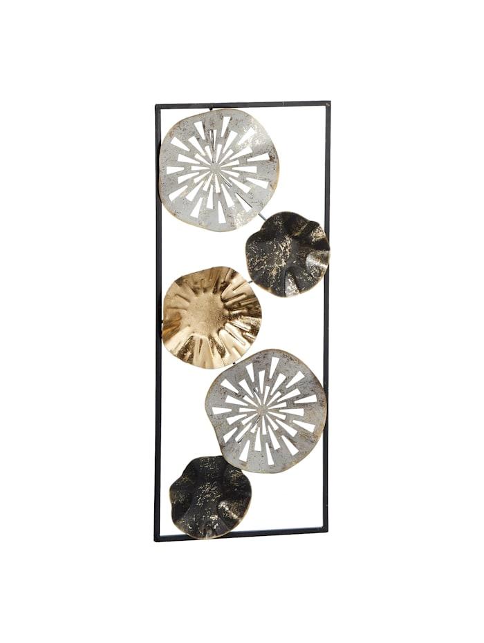 HTI-Living Wanddeko aus Metall im Rahmen, Schwarz, Weiß, Silber, Gold,