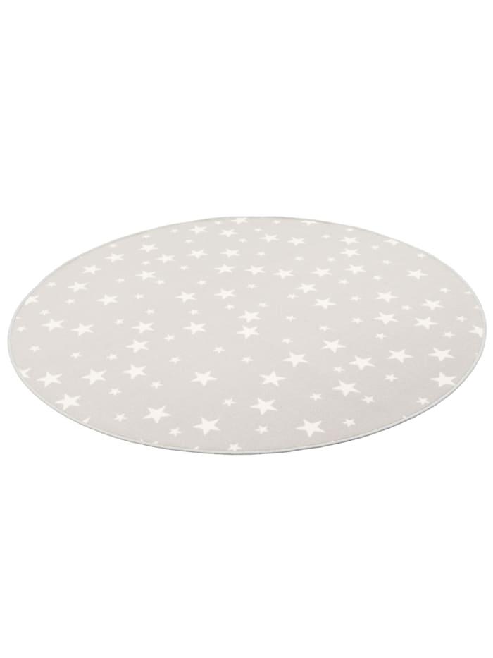 Snapstyle Kinder Spiel Teppich Sterne Rund, Grau