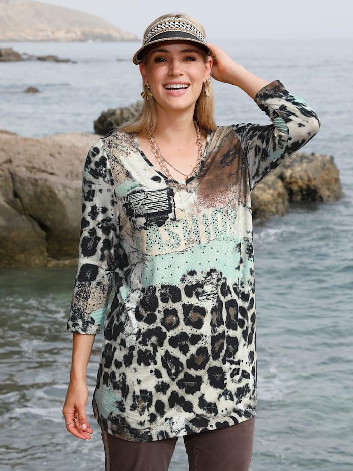 MIAMODA Shirt mit Dekosteinen, Beige/Braun/Mintgrün
