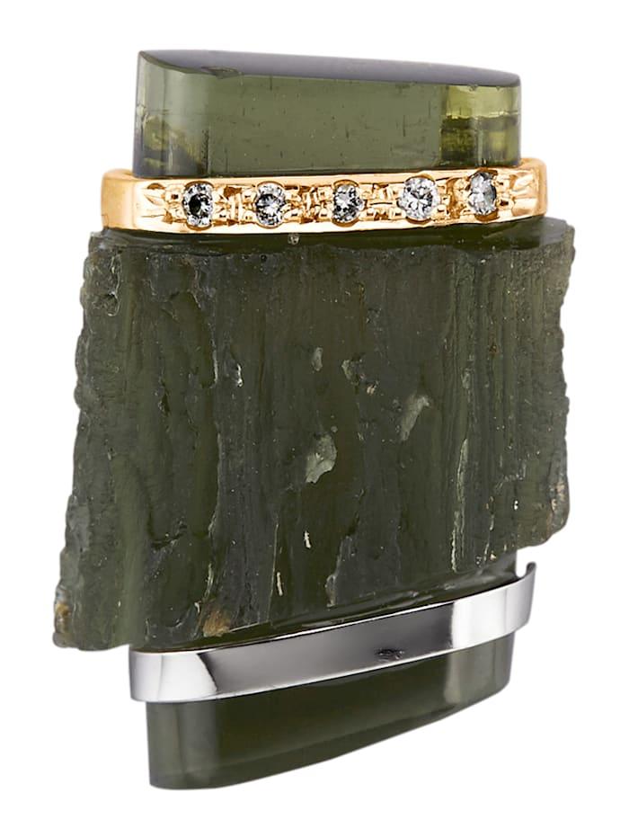 Diemer Farbstein Hanger met moldaviet en diamanten, Groen