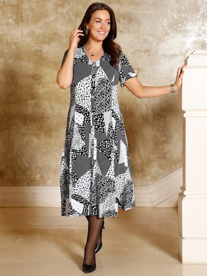 m. collection Kleid in leicht schwingender Form, Schwarz/Weiß