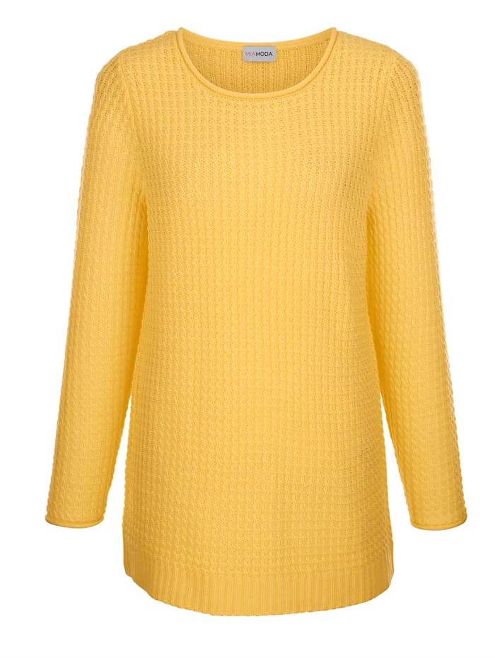 MIAMODA Pullover aus schönem Ajourstrick, Gelb