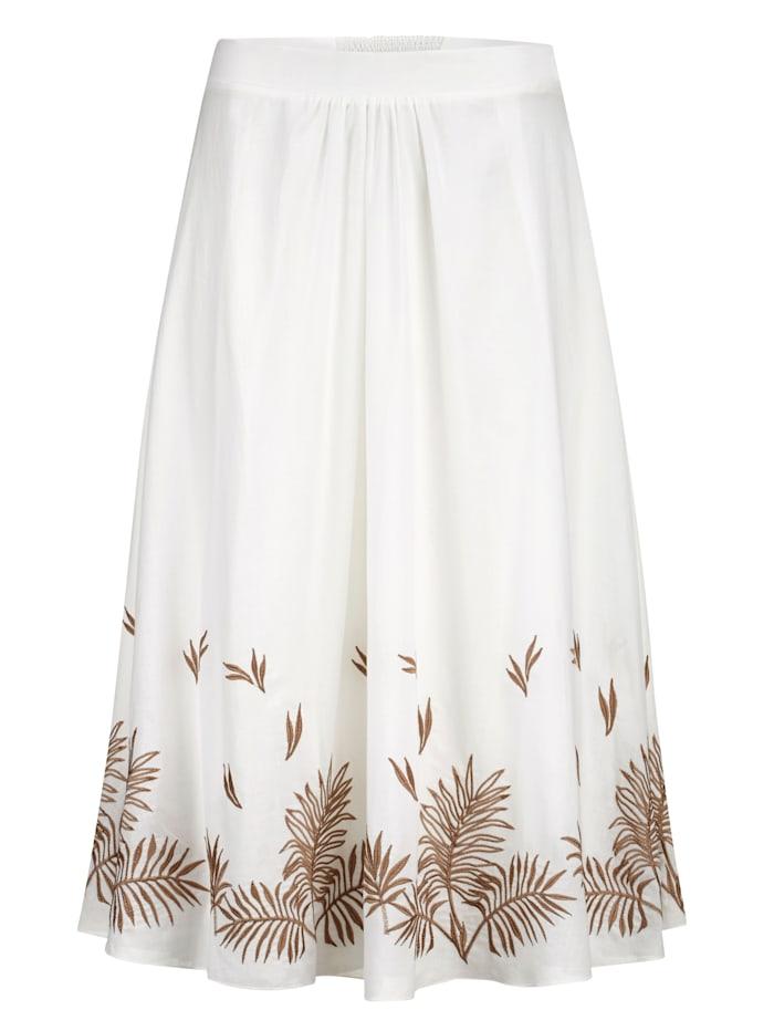 Sukně s výšivkou listů kontrastní barvy