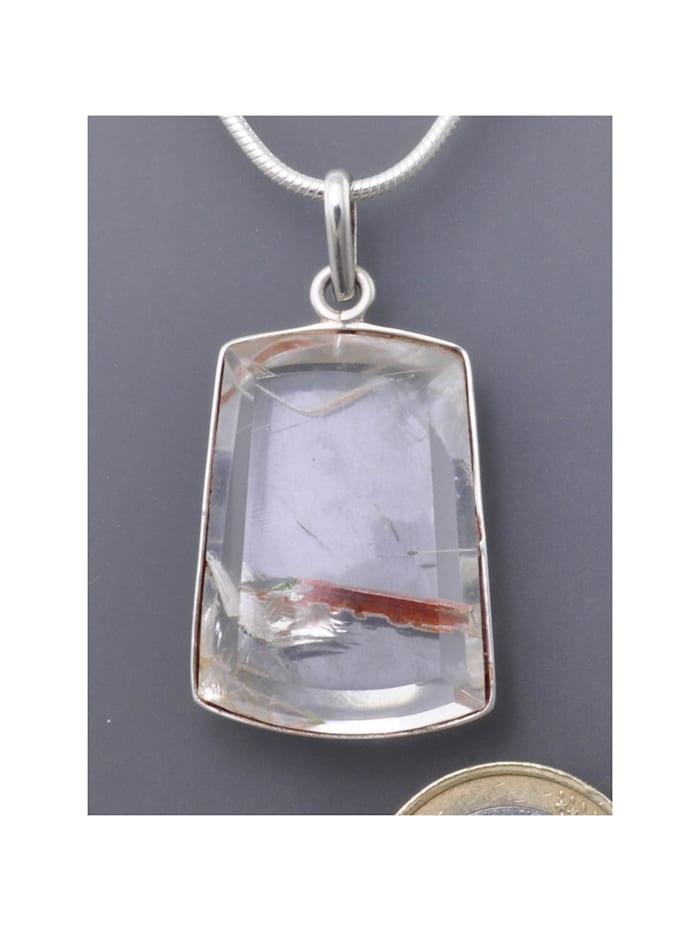 1001 Diamonds Rutilquarz Schmuck Edelstein Anhänger  925 Silber, transparent