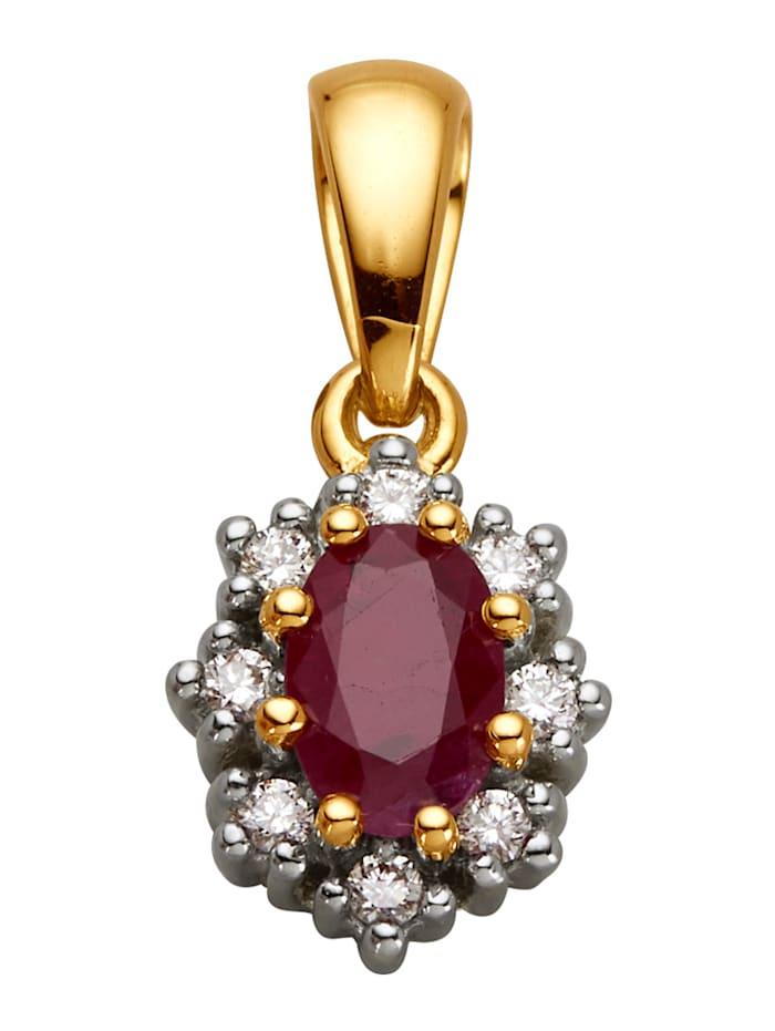 Diemer Farbstein Anhänger mit Rubin und Diamanten, Rot