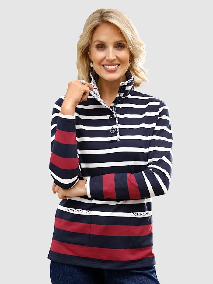 Paola Sweatshirt med detaljer i blommönstrat, Marinblå/Benvit/Röd