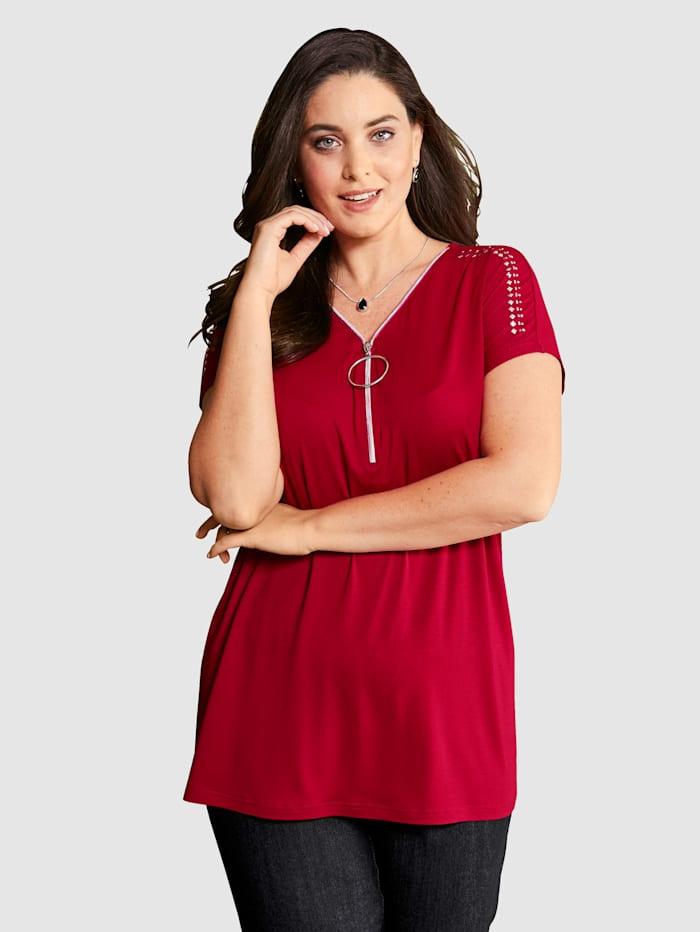 MIAMODA Shirt met rits aan de hals, Rood
