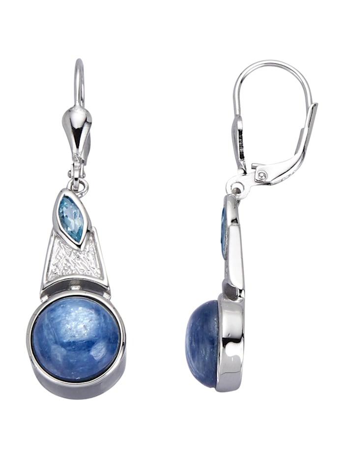 Ohrringe mit Kyaniten und Blautopasen, Blau