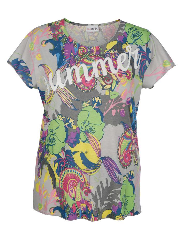 MIAMODA T-shirt à inscription mode, Multicolore