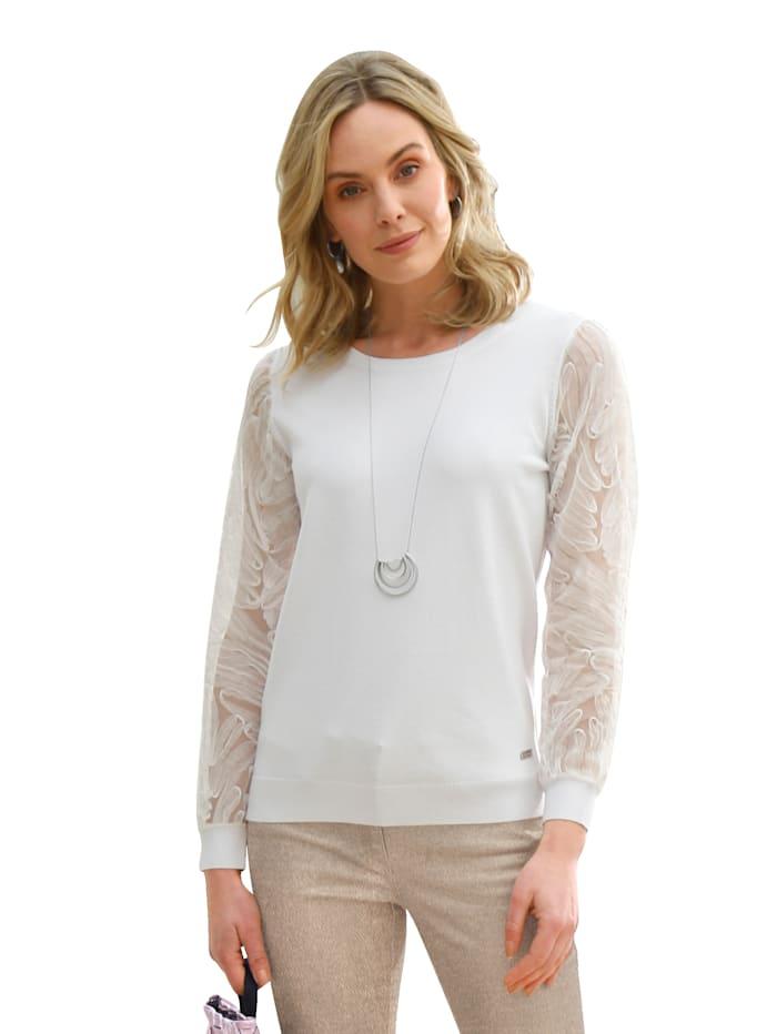 AMY VERMONT Pullover mit Ärmeln aus Mesh, Weiß