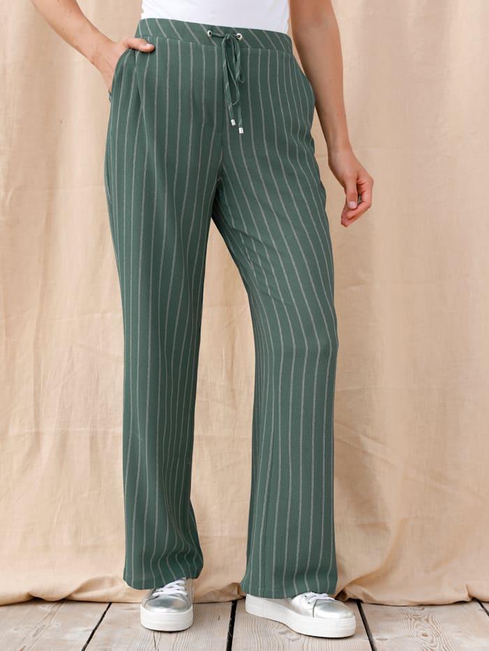 MIAMODA Pantalon à ceinture extensible, Vert/Beige