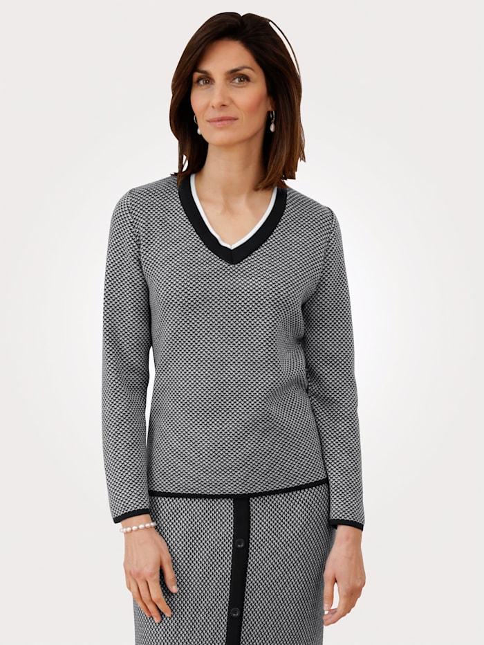 MONA Pullover mit grafischem Muster, Marineblau/Ecru