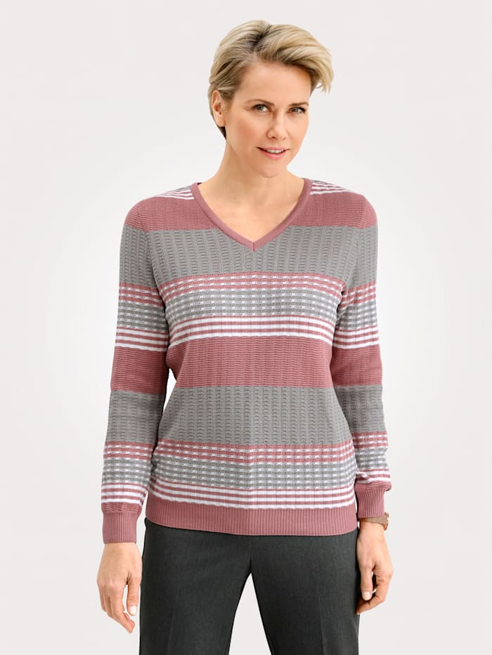 MONA Pullover mit Wolle, Altrosa/Taupe/Natur