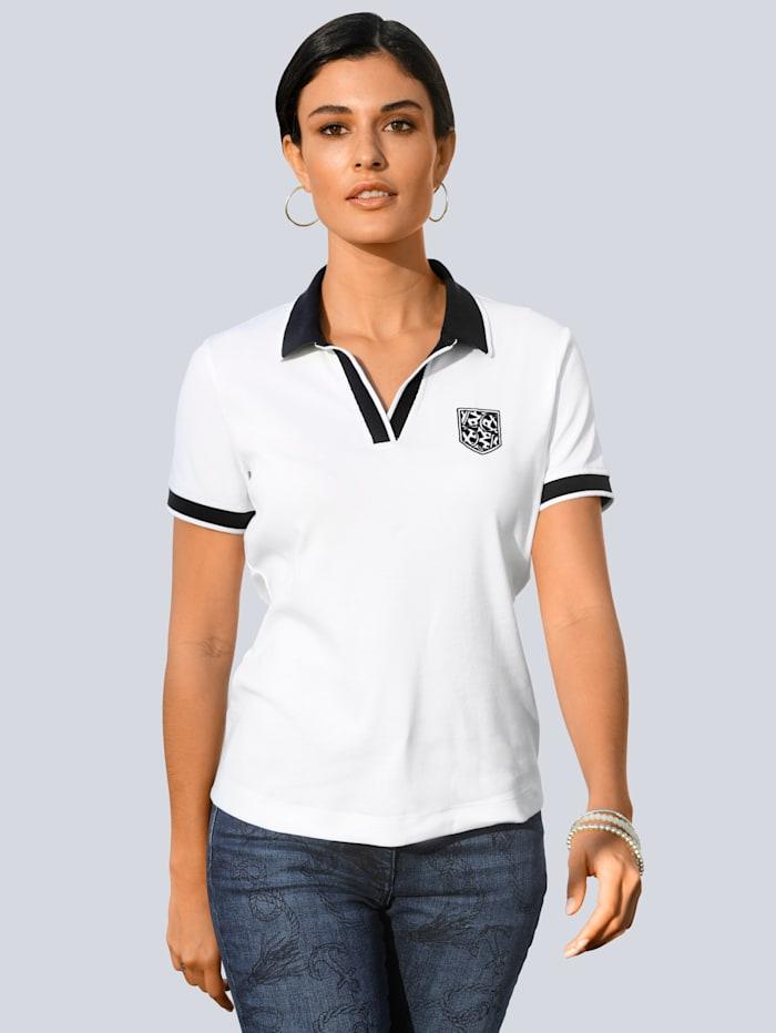 Alba Moda Poloshirt mit Wappenstickerei im Brustbereich, Weiß/Marineblau