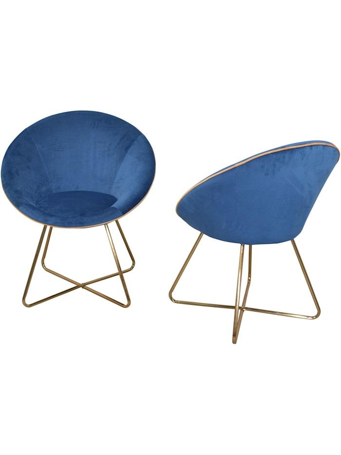Möbel-Direkt-Online Samt-Polsterstuhl (2Stück) Nelly, blau