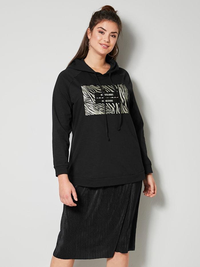 Sara Lindholm Sweatshirt aus reiner Baumwolle, Schwarz