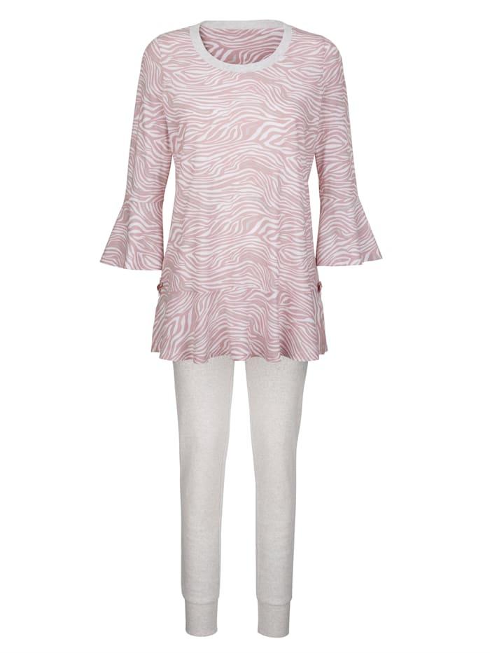 Simone Schlafanzug mit hübschem Volant, rosenholz/weiß/grau meliert