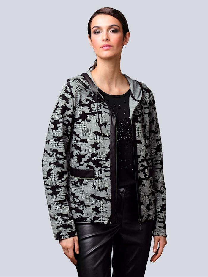 Alba Moda Sako celoplošne s abstraktným vzorom kohútej stopy, Čierna/Prírodná biela
