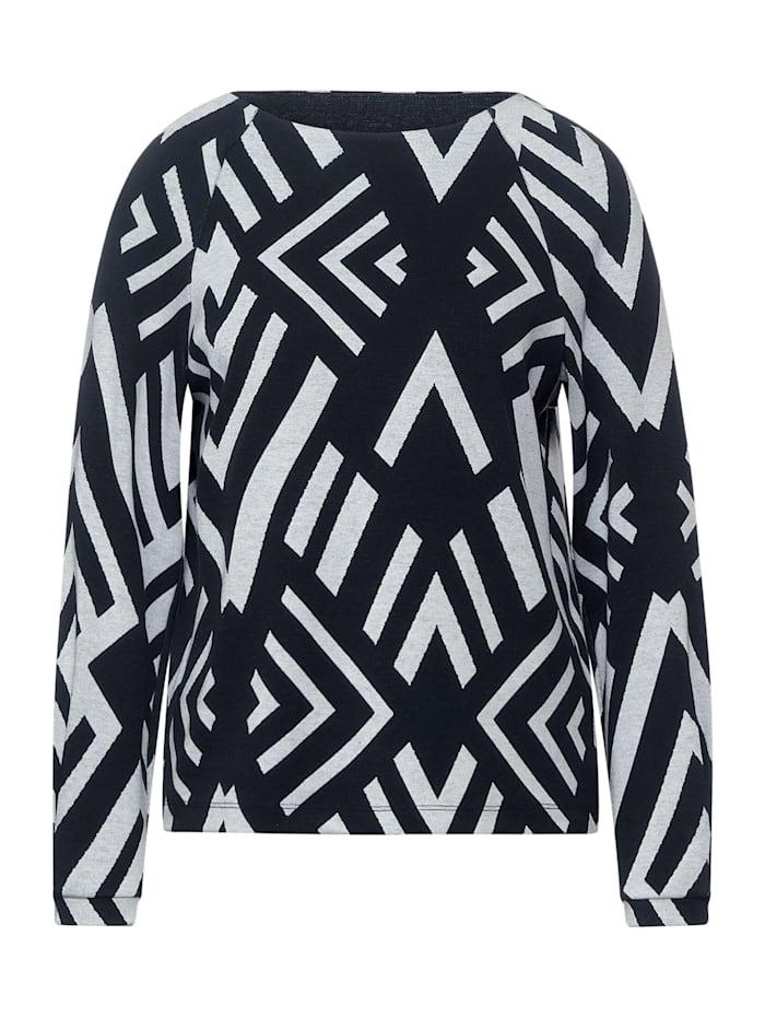 Street One Softes Shirt mit Ikat Muster, dark blue melange