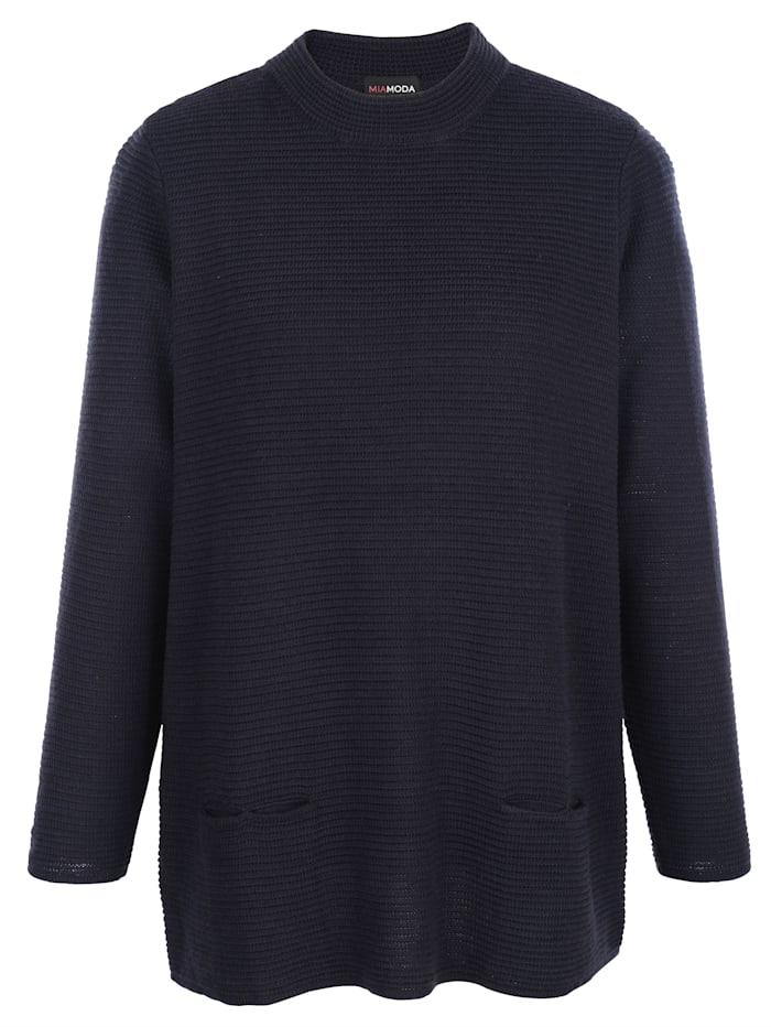 Pullover mit hohem Rundhalsausschnitt