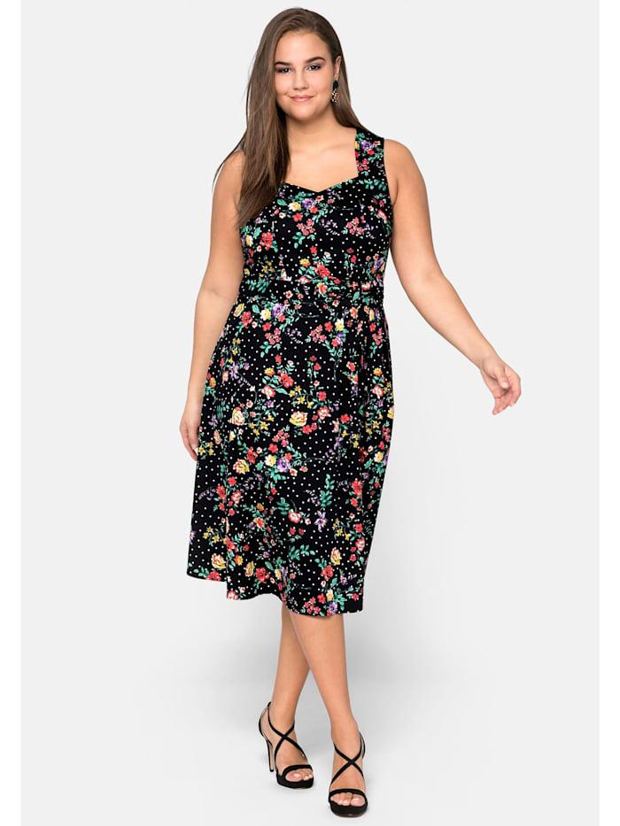 sheego by Joe Browns sheego by Joe Browns Kleid aus Baumwollsatin mit Blumendruck, schwarz bedruckt