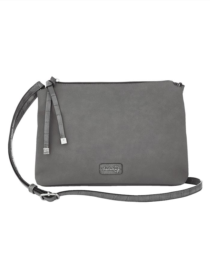 Taschenherz Umhängetasche mit Krokoprägung, grau