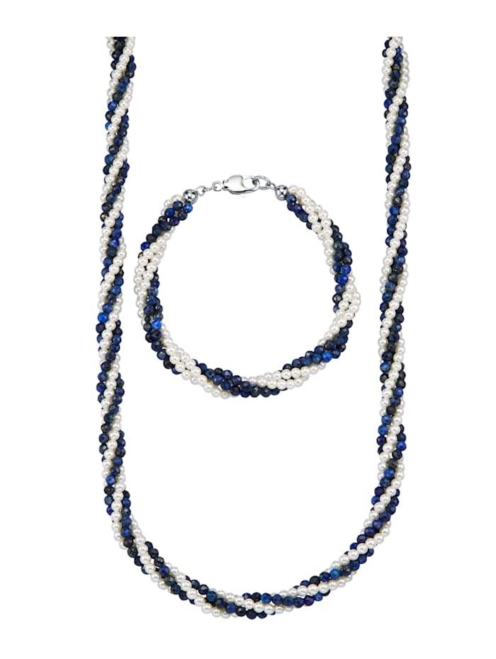 2tlg. Schmuck-Set aus Lapislazuli und Süßwasser-Zuchtperlen, Blau