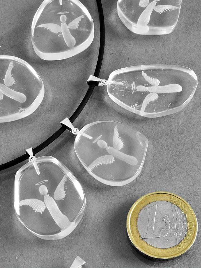 1001 Diamonds Damen Schmuck Edelstein Bergkristall Anhänger 925 Silber transparent, transparent